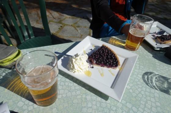 Tarte aux myrtilles mit Bier